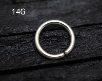 14G Sterling Silver SINGLE hoop / Nose / Cartilage /Tragus /Rook /Daith earring