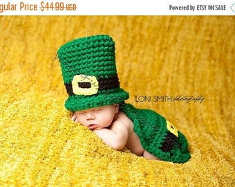 SUMMER SALE Leprechaun Top Hat & Cape Paddy Green - Animal Baby Newborn Cap Costume Halloween  Winter Outfit