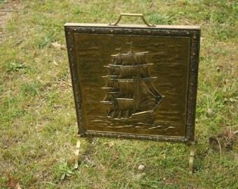 Fireplace Screen, Board,  Defender, Hammered Brass Fireplace Hearth Fire Screen, Nautical Decor, Ship, Fire, Home Decor, Brass