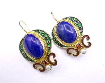 Vintage Lapis Enamel Earrings,