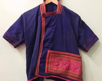 Vintage Hand Embroidered Top Hilltribe Ethnic Jacket from Thailand