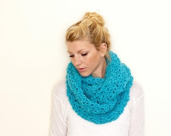 FLASH SALE The CHARLOTTE Chunky Cowl Scarf Infinity Scarf Hooded Scarf - Aqua - limited quantities available