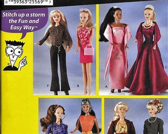 """Barbie Fashion Doll Clothes Pattern, 11.5"""" Doll, Simplicity 7073, Sewing Pattern for Dummies, Barbie Gown Dress Sportswear, Jacket Pants"""