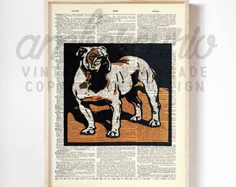 Bold is for Bulldog Pop Art Dog Lover Inspired Block Print on an Unframed Upcycled Bookpage