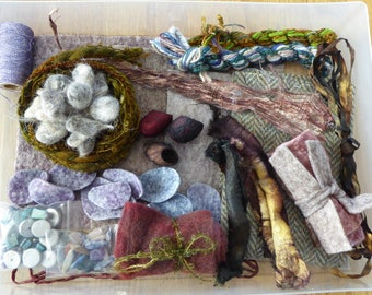 Hope jacare - Creativity pack  - hand dyed threads, fabric and other goodies - CP33