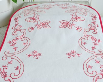 Printed cotton dresser scarf,  vintage Swedish Red and White home decor