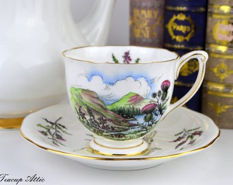 Queen Anne Teacup and Saucer Scotland Thistle Flower,  English Bone China Tea Cup Set, Souvenir Teacup, ca. 1950