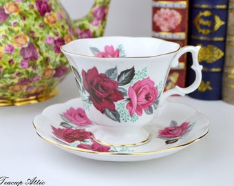 Royal Albert Teacup and Saucer With Large Red Roses, Bone China Tea Cup Set, Birthday Gift, ca 1960
