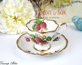 Queen Anne Fruit Series Teacup and Saucer, English Bone China Tea Cup Set, Replacement China, ca 1940-1960