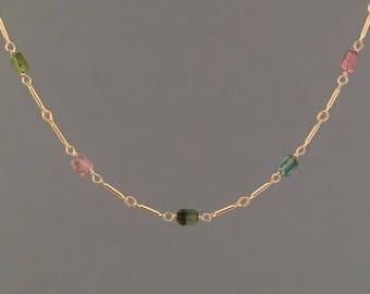 Tourmaline Stone Gold Bar Beaded Necklace