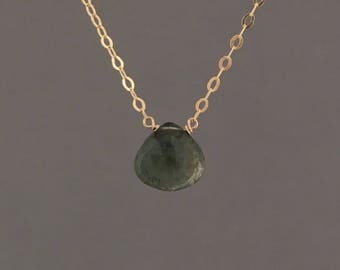 Moss Aquamarine Stone Necklace in Gold Fill, Rose Gold Fill, or Sterling Silver