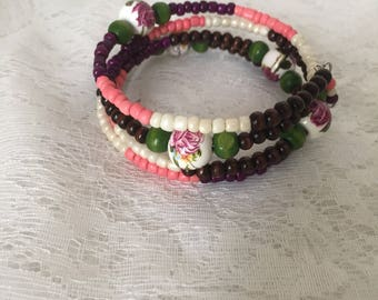 Ceramic Rose Bead 4 Loop Memory Wire Wrap Bracelet