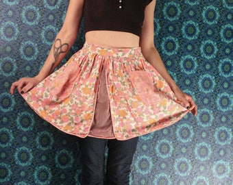 1930's to 1940's HALF APRON // Pink Floral // Sheer Panels