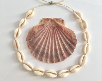 cowrie shell choker, mermaid necklace, beach jewelry