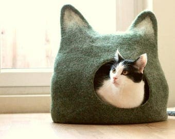 Cat bed - cat cave - cat house - eco-friendly handmade felted wool cat bed - green with natural light - made to order - Mothers day gift