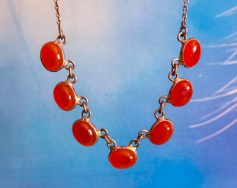 Free Shipping: Antique Arts and Crafts Carnelian and Sterling Silver Necklace