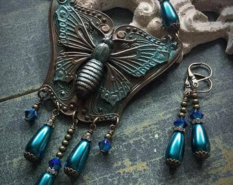 METAMORPHOSIS artistic art nouveau style hand patina antiqued necklace with matching earrings, moth, butterfly, insect