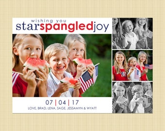 4th of July photo card - Independence Day greetings card (star spangled joy FOUR photos)