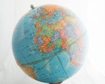 "Globe - Vintage Crams Imperial World Globe 12"" metal base"