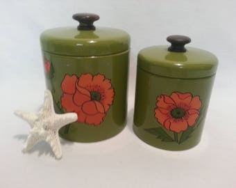 Two Avocado and Poppy Canisters by Ransburg of Indianapolis