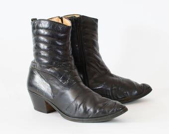 Vintage Black Leather Ankle Boots Indie Festival Women's UK 9 EU 43 US 11