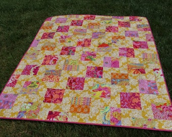 Kaffe Quilt in Bright Florals on Yellow