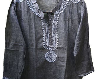 Custom order of Popkern13 for 5X size gypsy clothing, banjara shirt, peasant wedding dress, embroidered tunic Grey shirt with handembroidery