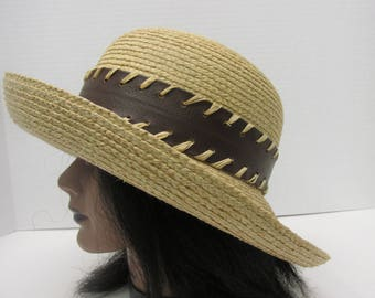 womens straw hat made in Italy , brim up or down , vintage straw hat , summer hat , wide band , sun hat , sunhat , large brim summer hat