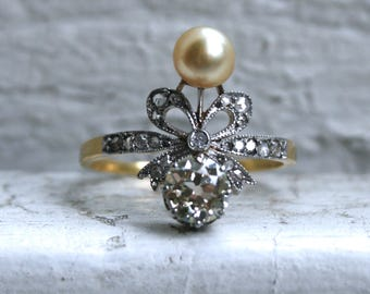 Antique French 18K Yellow Gold/ Platinum Diamond Ring 'Bow' Ring.