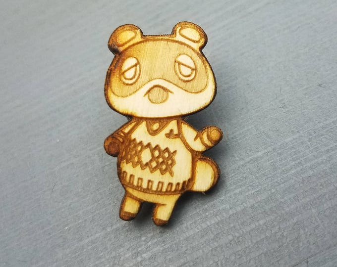 Animal Crossing Tom Nook Pin | Laser Cut Jewelry | Wood Accessories | Wood Pin