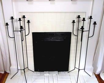 Iron Floor Candelabra Pair, Vintage Black Floor Candle Holders,  Six Candle Tall Candelabras, Wedding Decor