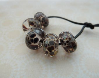 handmade brown frit lampwork glass beads, UK set
