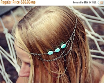 VACATION SALE boho head chain, chain headband,turquoise headband, metal headband, unique headband