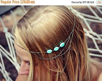 VACATION SALE boho head chain, chain headband,turquoise headband, metal headband, unique headband