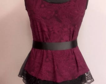 Tango Top in Cherry and Black, Adjustable Tango Top, Chiffon and Lace Tango Tee, Tango Tank Top
