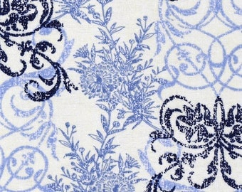 Snuggle Flannel Fabric - Blue Floral Interlock - Sold by the Yard