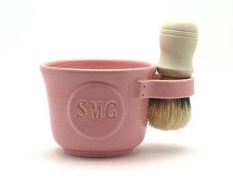 Pink Personalized Shaving Mug: Initial Shave Mug for Women - Brush NOT Included -  Pottery Gift Made to Order in 4-6 wks - See Item Details