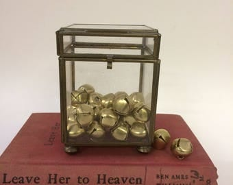 Brass + Glass Container with Bonus Vintage Jingle Bells