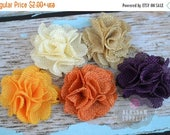 ON SALE The PETITE Autumn Collection - Burlap Puff Flowers - You Pick Colors - 2 Inches - Diy Headbands - Wedding Supplies - Rustic Fall Cou
