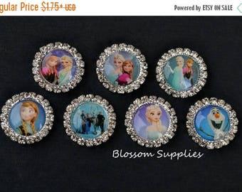 ON SALE U Pick - Flatback Frozen Inspired Rhinestone Metal Buttons Crystal Clear 20mm - Flower Bow Centers - Winter Snow Jewels - Disney Els