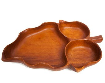Vintage Wooden Bowl Maple Leaf Shaped Monkey Pod Divided Platter Lailani Hawaii Serving Tray Hawaiian Decor Luau Party
