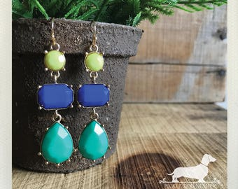 Chartreuse. Dangle Earrings -- (Vintage-Style, Blue, Green, Mint, Colorful, Rhinestone Jewels, Bridesmaid Gift Under 10, Chandelier, Aqua)