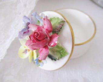 CROWN STAFFORDSHIRE TRINKET box,  mini bone china round floral top box, ring box, treasure box, keepsake box, excellent condition