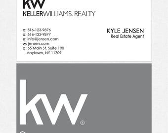 no photo Keller Williams real estate DELUXE business cards - thick, color both sides - FREE UPS ground shipping