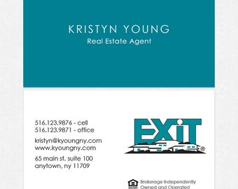 no photo EXIT real estate deluxe business cards - thick, color both sides - FREE UPS ground shipping