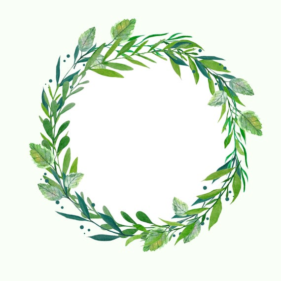 Greenery Wreath Watercolor Wreath Botanical Wreath