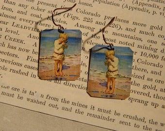 Art earrings Jesse Wilcox Smith Beach jewelry mixed media jewelry