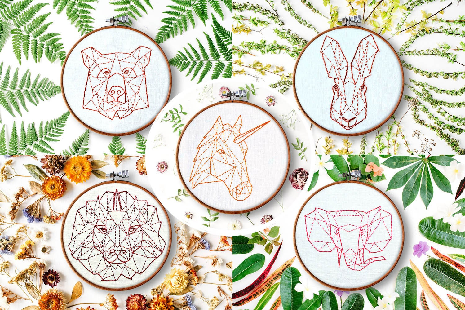 Modern hand embroidery patterns geometric animals beginner this is a digital file dt1010fo