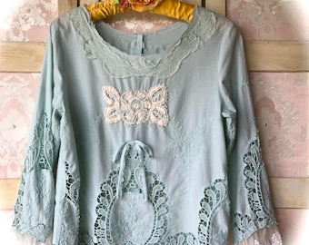 Dreamy Rustic French Blue  Lace Tatter Top Charming Marie Antoinette Beauty