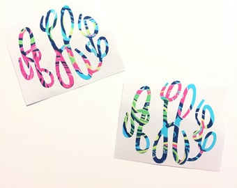Private Island Lilly Pulitzer Print Inspired Monogram Vinyl Decal Personalized Custom Sticker Flower